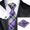 Н-0211 моде мужчины Шелковый галстук набор фиолетовый в полоску галстук платок Запонки набор галстуков для мужчин формальных Свадебный бизнес оптом
