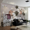 Пользовательские обои Mural 3D Стереоскопические рельефные жемчужные цветы Nordic Retro TV Background Decor Wall Home Decor Living Room