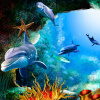 Пользовательские 3D-обои для рабочего стола Декорации для стен Ocean Seabed Cave Cartoon Dolphin Настенная роспись Детская настенная бумага Декорация детской комнаты декор для стен