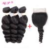 ALot Hair 3 Bundles Loose Wave с кружевным закрытием Малайзийский Virgin Loose Curl с закрытием 4x4 Человеческие волосы с закрытием брюки горнолыжные rip curl rip curl ri027emzlc69