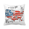 America Map Liberty Word Illustration Square Throw Pillow Insert Cushion Cover Home Sofa Decor Gift letters cotton linen throw pillow case square waist sofa bed cushion cover home decor