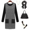Lovaru ™Новые модные 2015 Женщины Повседневная Лоскутное свитер платье мини Осень Зима длинным рукавом О-образным вырезом Тонкий платье