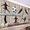Пользовательские обои Mural для стен 3D Wood Board Man Футбол Обои настенные обои Home Decor Living Room Background Wall Painting самые дешевые обои для стен брянск