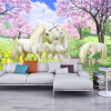 Пользовательские 3D Mural обои Единорог Dream Cherry Blossom TV Фон Стены Картинки Для Детская комната Спальня Гостиная Обои пользовательские обои mural 3d красочные граффити ретро современный стиль mural детская комната гостиная ktv спальня фон обои