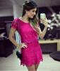 Lovaru ™Летний стиль 2015 новых мужчин одеваться Роза красная Платье де RENDA короткий рукав красивое платье