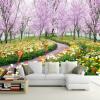3D обои настенные обои Природный ландшафт Красивые цветы Бумага с надписью из персика Большая роспись гостиной ТВ-стрит Домашний декор