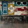 На заказ 3d-роспись Бар-ресторан-ресторан-кафе-фон ретро-3D-американо-граффити-роспись современный ресторан