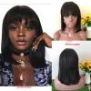 Короткие бразильские кружевные передние человеческие волосы Парики с Bangs Боб кружева парики для черных женщин натуральный черный цвет