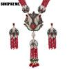 Sunspice ms. Природные камни Tassel ожерелье кристалл цветок падение серьги женщин Vintage ювелирные изделия набор антикварные зол