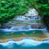 HD Водопад Бегущая вода Золотая рыбка Фотообои Обои Китайский стиль Природа Ландшафт Стены Картина Интерьер Декор Стены Бумага интерьер и декор