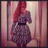 Lovaru ™Новые +2015 Мода женщин платье с длинным рукавом платья печати туника платье партии и бесплатная доставка