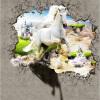 Белый Лошадь сломанной стены Фото Murals 3D Современный творческий интерьер Домашний декор Обои Стерео тисненый нетканый 3D Wall Painting интерьер и декор