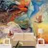 Пользовательские 3D-обои для рабочего стола с рисунками в китайском стиле Dunhuang Flying Maid Bedding Room Wall Paper Backdrop Landscape Wallcovering