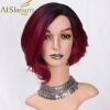 AISI BEAUTY Синтетические парикикороткий ломбер Вино красные волосы для женщин 12 Синтетические прямые волосы ботинки синтетические