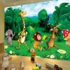 Пользовательские обои 3D Mural Обои Зеленый лес Мультфильм Животные Детская комната Спальня Фото Фон Обои для стен Обои для детей декор для стен