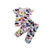 Волк (canis@очаровательны мультфильм Минни Baby дети девочки Цветастые пижамы пижамы установить 2шт 2~7Y