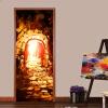 Европейский стиль Флуоресцентный путь Фото обои Гостиная Ресторан Арт-Дверная роспись Стикер ПВХ-виниловая дверная стеновая бумага 77см x 200см европейский ресторан