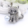 Lucky Zodiac Animal Cute Cat Brooch Pin For Women Rhinestone Animal Brooches Broches Simulation Pearl Russia Lapel Corsage Pin large 24x24 cm simulation white cat with yellow head cat model lifelike big head squatting cat model decoration t187