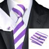 Н-0339 моде мужчины Шелковый галстук набор фиолетовый в полоску галстук платок Запонки набор галстуков для мужчин формальных Свадебный бизнес оптом н 0295 моде мужчины шелковый галстук