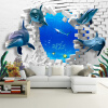 Custom Mural 3D Stereoscopic Dolphin Broken Wall TV Sofa Backdrop Art Mural Painting Living Room Pictures Обои Домашний декор custom tree bark textures wallpaper restaurant living room tv sofa wall background children bedroom 3d mural papel de parede