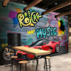 Пользовательские обои с настенной росписью Ferrari Sports Car City Graffiti Murals Papel De Parede 3D Restaurant Cafe Bar Background Painting custom 3d flooring wallpaper pvc wear non slip waterproof thickened self adhesive murals sticker hotel bathroom papel de parede