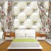 Custom 3D Mural Обои Европейский стиль 3D Стерео Рельеф Алмазы Плам Мягкий пакет Фото обои Спальня Ландшафтный дизайн Mural