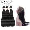 HCDIVA Перуанские волосы прямые 2/3 связки с 360 кружевами Фронтальное закрытие Девичьи волосы человека с кружевами Фронтальные салоны для волос авто в калуге салоны