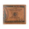 Доллар США Билла кошелек коричневый PU кожаный бумажник двойные Кредитная карта фото Запасливые монета номиналом 1 доллар президенты эндрю джонсон сша 2011 год