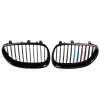 racing ABS Gloss Black M-color Kidney Front Grills For E60 E61 5 Series 4D Sedan 04-10 abs chrome front grille around trim front bumper around trim racing grills trim for 2012 2013 renault koleos