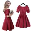 Lovaru ™2015 Новая мода мило твердой коротким рукавом слэш шеи высокого качества сексуальный мягкий выше колена мини нарядные платья