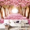 На заказ Современная романтическая настенная роспись Розовые цветы Деревья Лесные обои для рабочего стола Постельные принадлежности Софа для телевизора Зал Home Improvement