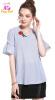 M - 5XL плюс размер офис хлопок новый летом 2018 синий полоса блузка женщин плюс размер короткий рукав V шеи цветок леди ножницы по металлу stanley левые 2 14 562