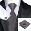 n-0311 Vogue мужчин шелковым галстуком зададим серый платок запонки установить связи твердые галстук для мужчин официальный свадебный бизнес оптом оптом крепление для авторегистратора