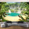 Пользовательские 3D обои Фрески Водопад Павлиньи озера Ландшафт 3D Эффект Гостиная Диван ТВ Фон Фото Стены пользовательские обои фрески 3d hd лесной рок водопад фотография фон стена картина гостиная диван фото mural обои
