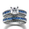 Серебряный цветной квадрат Синий CZ Каменное кольцо устанавливает роскошные дизайнерские модные кольца Full Size Fashion Jewelry R693 каменное сердце