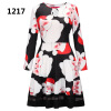 Europe and America Christmas dress Christmas tree old man snowman bottom jigsaw dress Christmas print dress