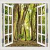 Пользовательские обои настенные обои с большими стенами Обои 3D-окно Зеленый лес Декорации Фон Обои на стенах Обои Гостиная