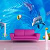Пользовательские 3D обои Mural для стен 3D Нетканые настенные обои Cartoon Dolphin Ocean Swirl Wall Paper Детская комната Телевизор Контактная бумага пользовательские обои mural 3d wall mural природные пейзажи водопады и зеленое дерево обои для рабочего стола нетканые настенные пок