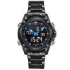 naviforce 9050 мужчин во главе с 30 водонепроницаемый кварцевые часы двойного времени нержавеющей стали серебряные наручные часы