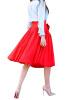 Lovaru ™летом стиль юбка 2015 новых женщин способа колена юбки длины красные плиссированные юбки высокой талией с луками плюс размер юбки
