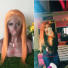 Silky Straight Glueless Front Front Wig 130% Плотность оранжевого цвета человеческого парика для волос для женщин front