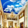 Пользовательские большие потолочные обои Обои Голубое небо и белые облака Радуга Природа Пейзаж Потолочные фрески Ресторан Home Decor 3D бар потолочные фрески