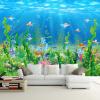 Cartoon Seabed Fish Seaweed Wall Mural Пользовательские обои для детей Обои для стен Детская спальня Настенная бумага Домашнее украшение TV Backdrop декор для стен