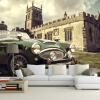 3D фото обои европейский стиль ретро автомобиль Замок ТВ обои роспись гостиная диван нетканый обои бамбуковые обои каширский двор 3