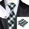 цена Н-0384 моде мужчины Шелковый галстук набор пледы & проверяет галстук платок Запонки набор галстуков для мужчин формальных Свадебный бизнес оптом онлайн в 2017 году