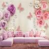 Пользовательские обои для рабочего стола для стен европейского стиля бабочка цветок бриллианты ювелирные изделия ТВ фон с настенной росписью обои 3D декор для стен