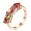 Цветные каменные розовые позолоченные кубические цирконы CZ Diamond Crystal обручальные кольца для женщин Свадебные аксессуары R484