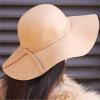 Женщин с широкими полями из искусственного войлока Шерстей котелок Fedora шляпа флоппи солнце бантом Клош Кепка верблюд