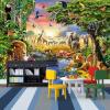 Пользовательские фото Mural Нетканые обои 3D Cartoon Grassland Животные Лев Zebra Детская комната Спальня Home Decor Wall Painting пользовательские фото обои bamboo forest art wall painting living room tv background mural home decor обои papel de parede 3d