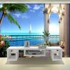 Пользовательские обои для фото 3D обои для настенной обойки Расширить пространство Балкон Вид на море Жилая комната Телевизор Фон Стена Декор Бумага